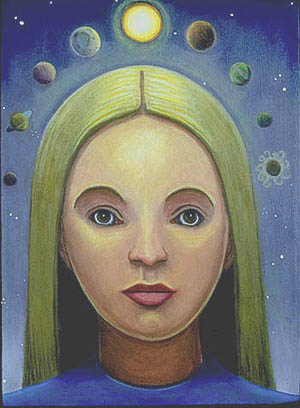 Girl Crowned with Celestial Orbs