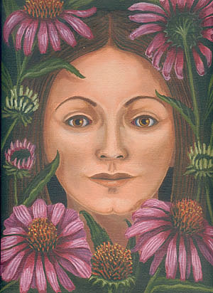 Woman with Purple Coneflowers (Echinacea)